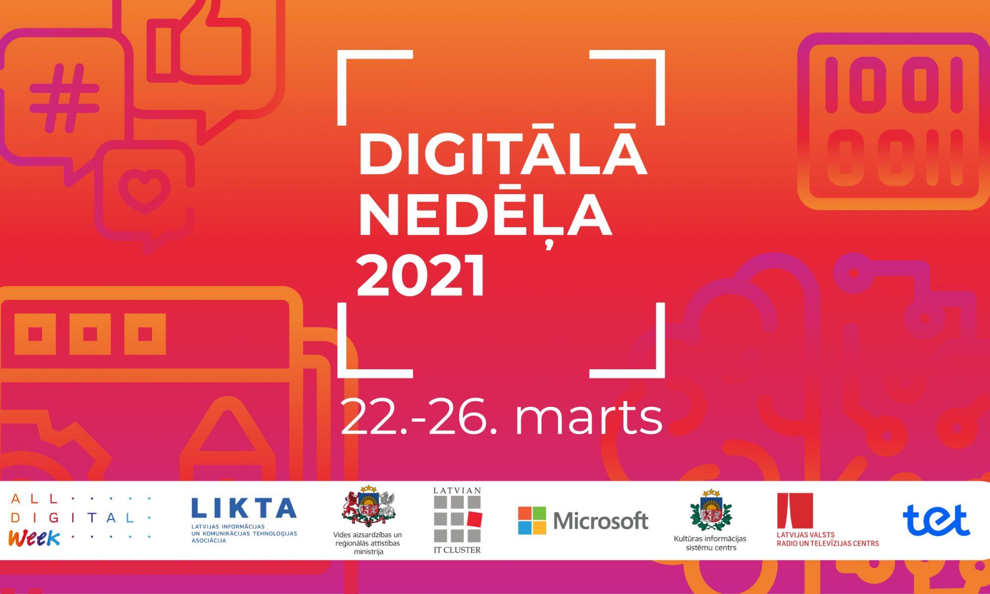 """""""Digitālā nedēļa 2021"""" aicinās iedzīvotājus apgūt jaunas digitālās prasmes"""